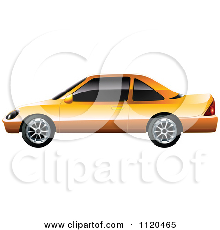 Clipart Of An Orange Car With Tinted Windows.