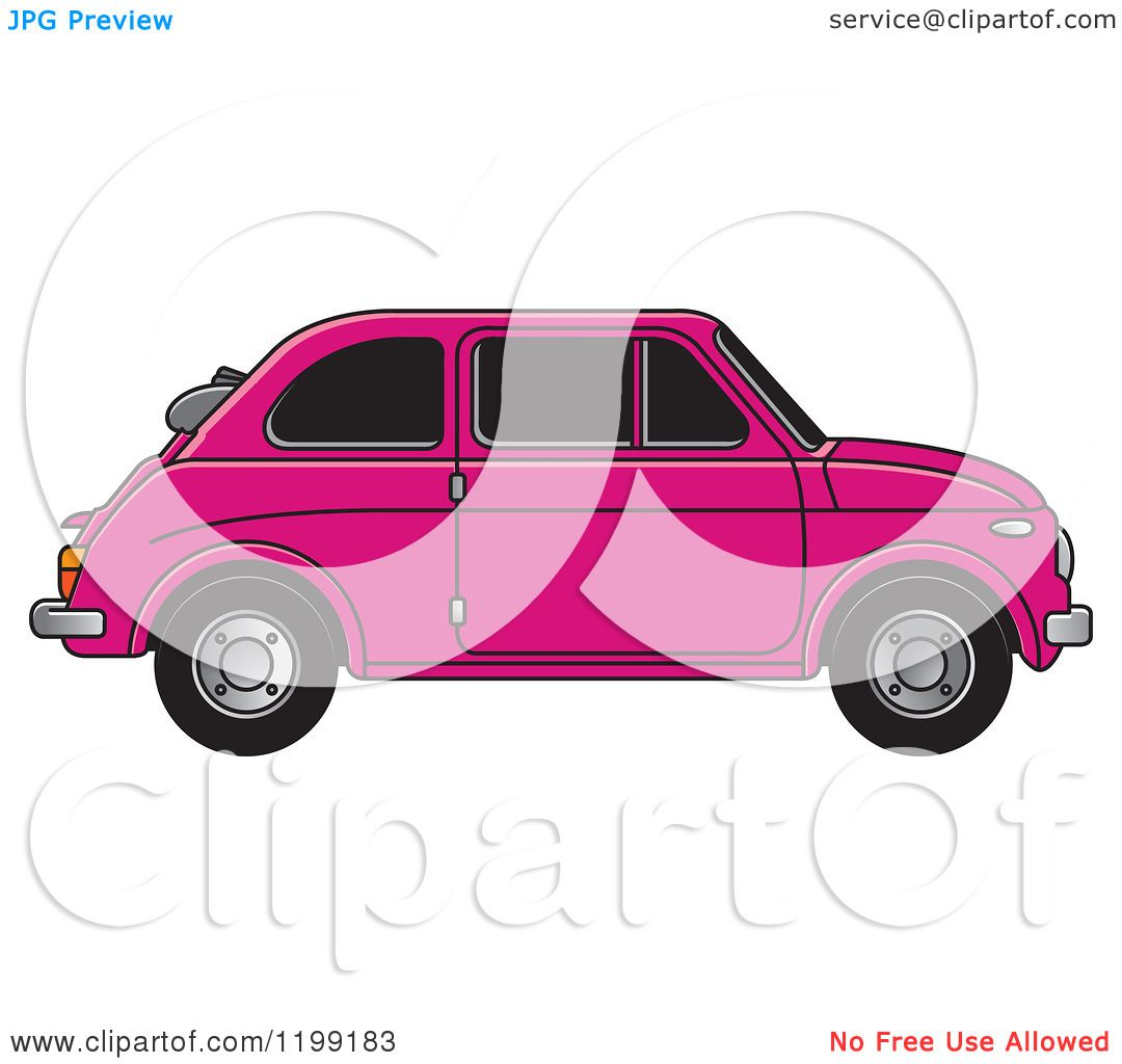 Clipart of a Vintage Pink Fiat Car with Tinted Windows.