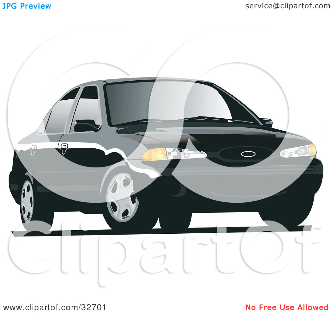 Clipart Illustration of a Black Ford Contour Car With Tinted.