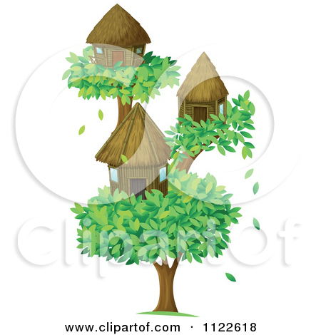 Cartoon Of Bamboo Bungalow Huts Or Houses On Tropical Islands.