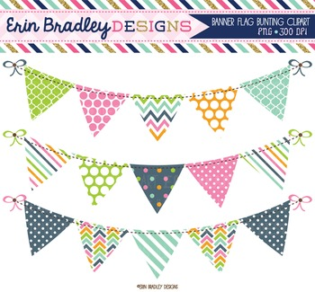 Pink Blue Orange Bunting Banner Flag Clipart Graphics Polka Dots.