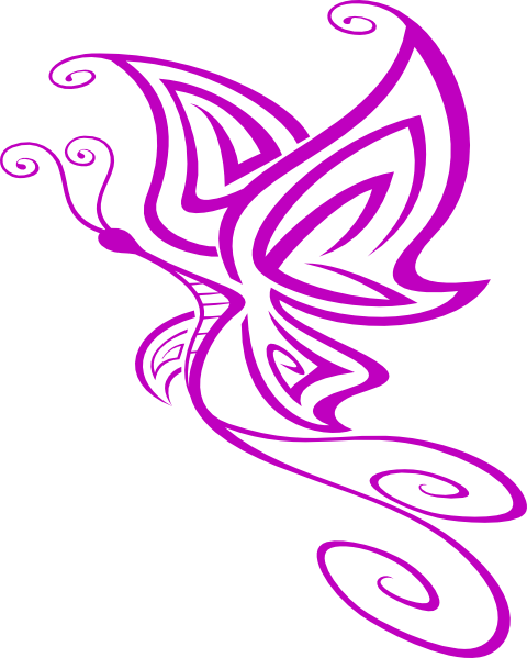 Purple Butterfly Scroll Clip Art At Clker Com: Tiny Butterfly Clipart