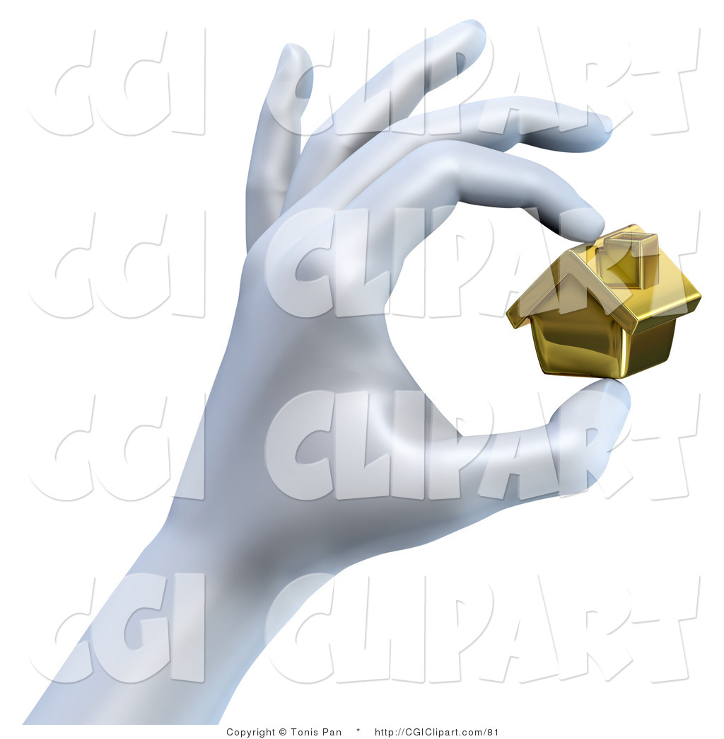 Clip Art of a Large 3d Hand Pinching a Tiny Golden House by Tonis.
