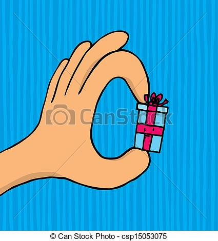 Vectors Illustration of Hand holding a small tiny gift.