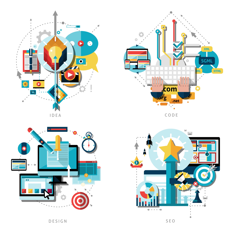 Creative Work Icons Set.