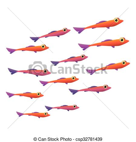 Vectors of Group of small fish icon.