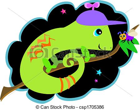 Clip Art Vector of Chameleon and Fly Friends.