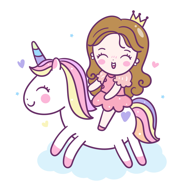 Cute Unicorn vector and little princess cartoon (friendship.
