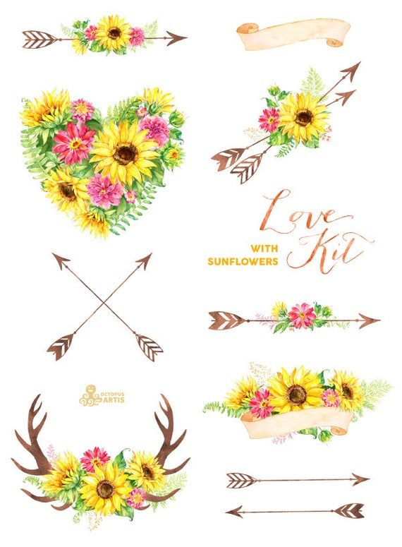 Love Kit with Sunflowers. Watercolor flowers Clipart, arrows.