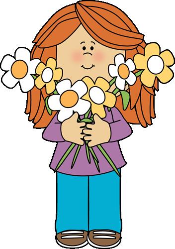 Girl Holding Flowers Clipart.