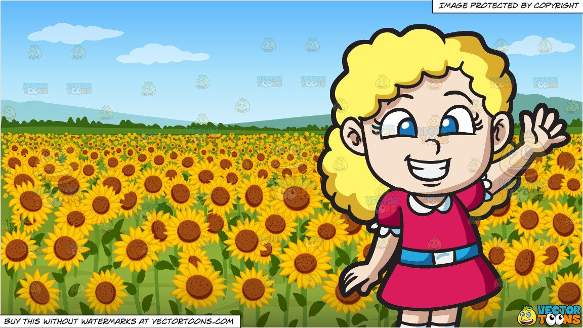 An Excited Little Girl and A Field Of Sunflowers Background.