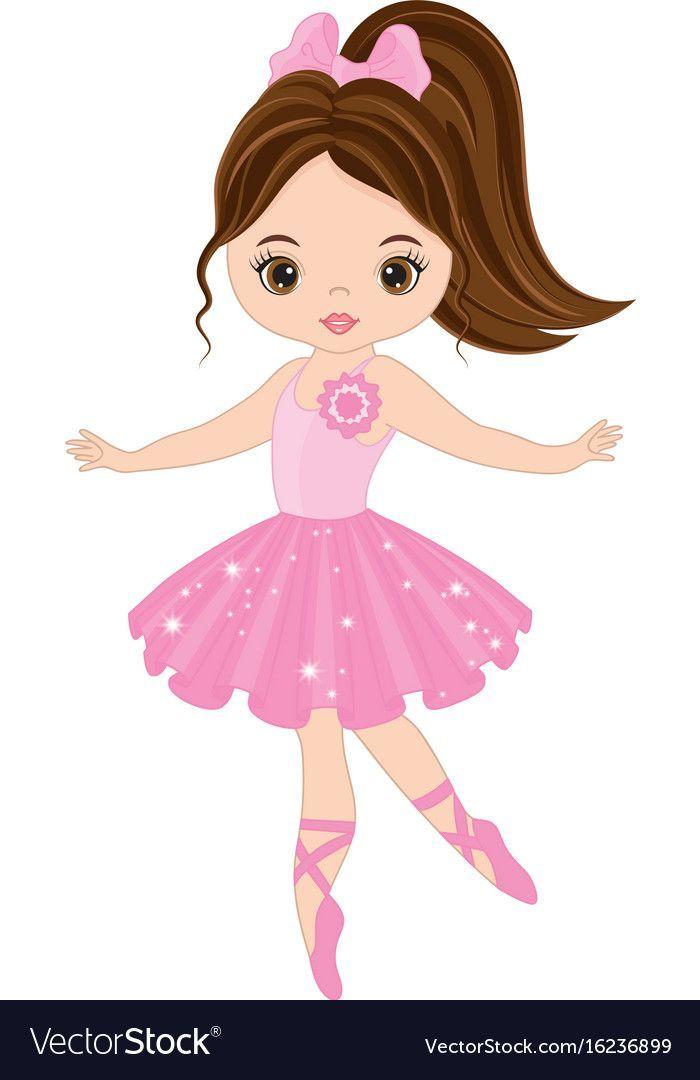 Vector cute little ballerina dancing. Vector ballerina girl.