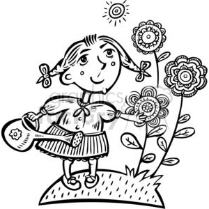 small girl watering her flowers clipart. Royalty.