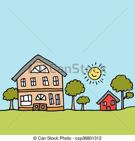 Vector Clip Art of Large house next to a tiny house.