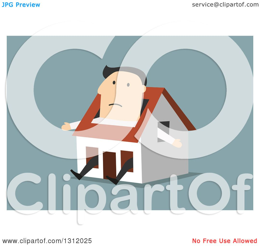 Clipart of a Flat Design White Businessman Stuck in a Tiny House.