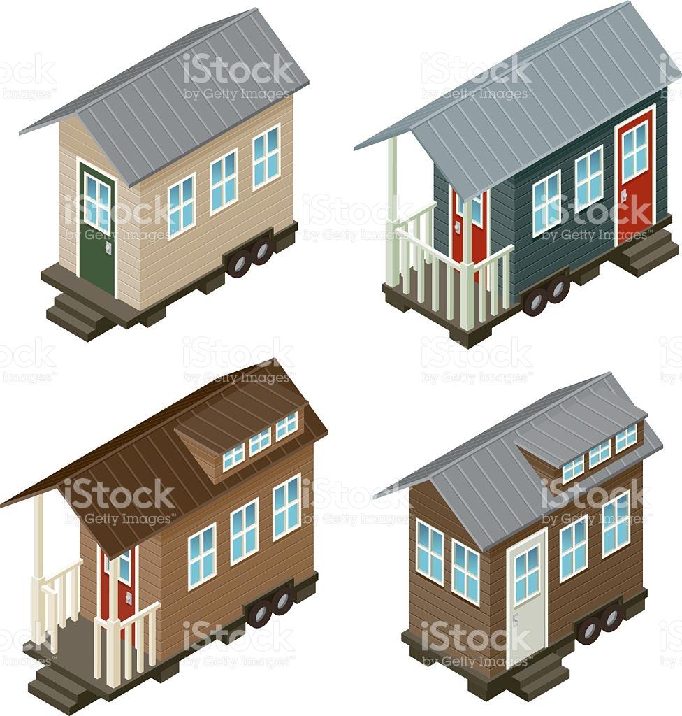 Tiny House Isometric Icon Set stock vector art 489153290.