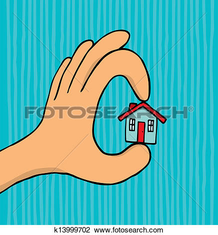 Clipart of Hand holding tiny house k13999702.