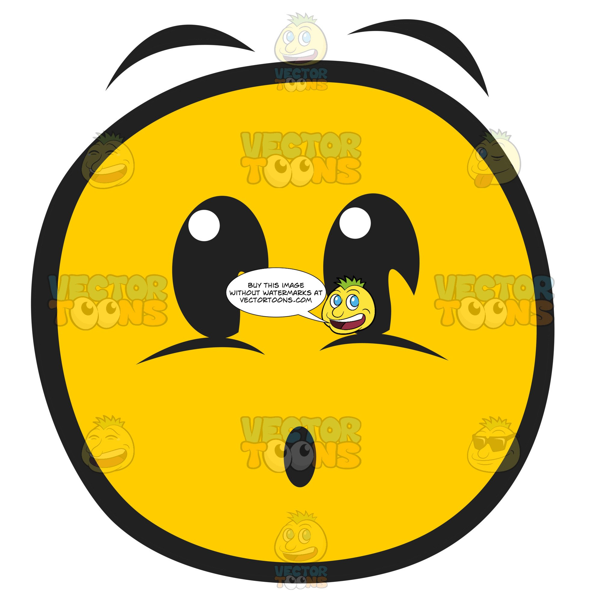 Scared Startled Frightened Looking Smiley Face With Big Eye And Raised  Eyebrows And Small O.