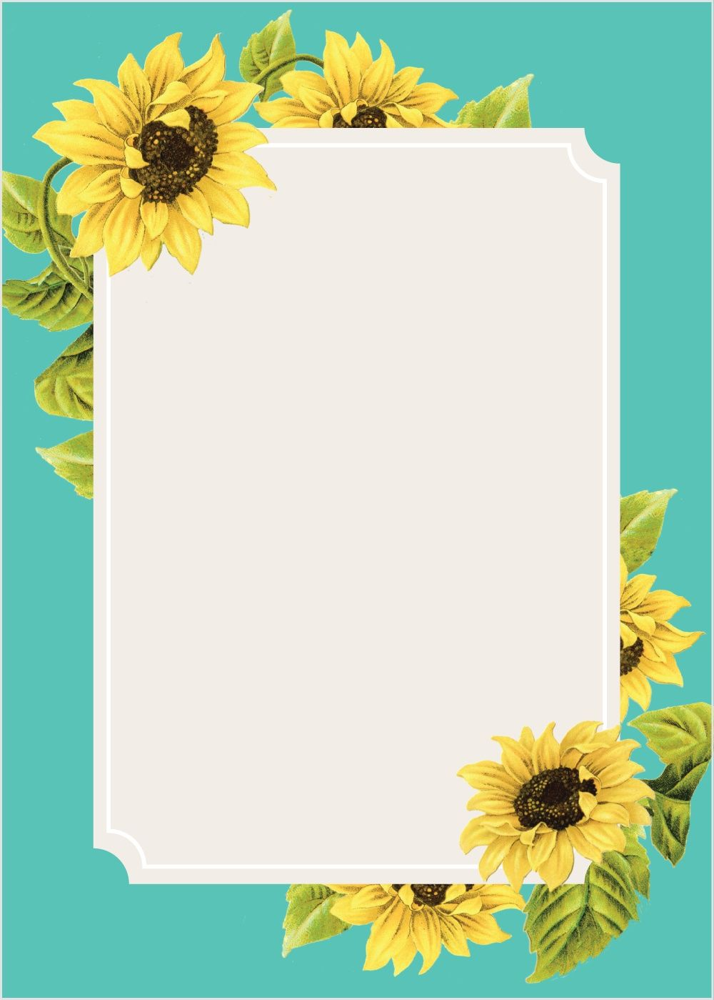 Sunflower Frame Wedding Invitations.