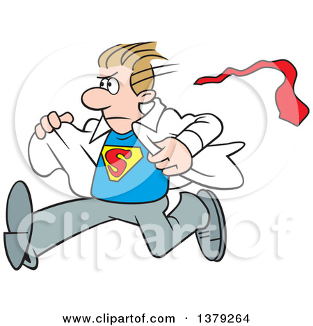 Cartoon Clipart of a White Super Hero Man Running and Changing.