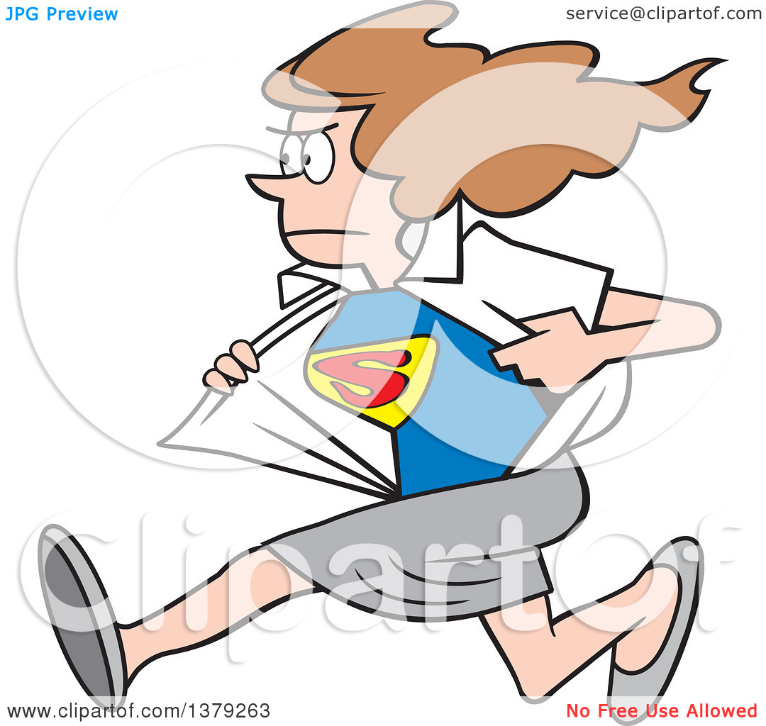 Cartoon Clipart of a White Super Hero Woman Running and Changing.