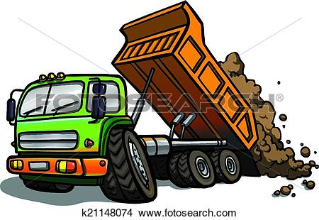 Clipart of Cartoon tipper truck. Isolated k21148074.