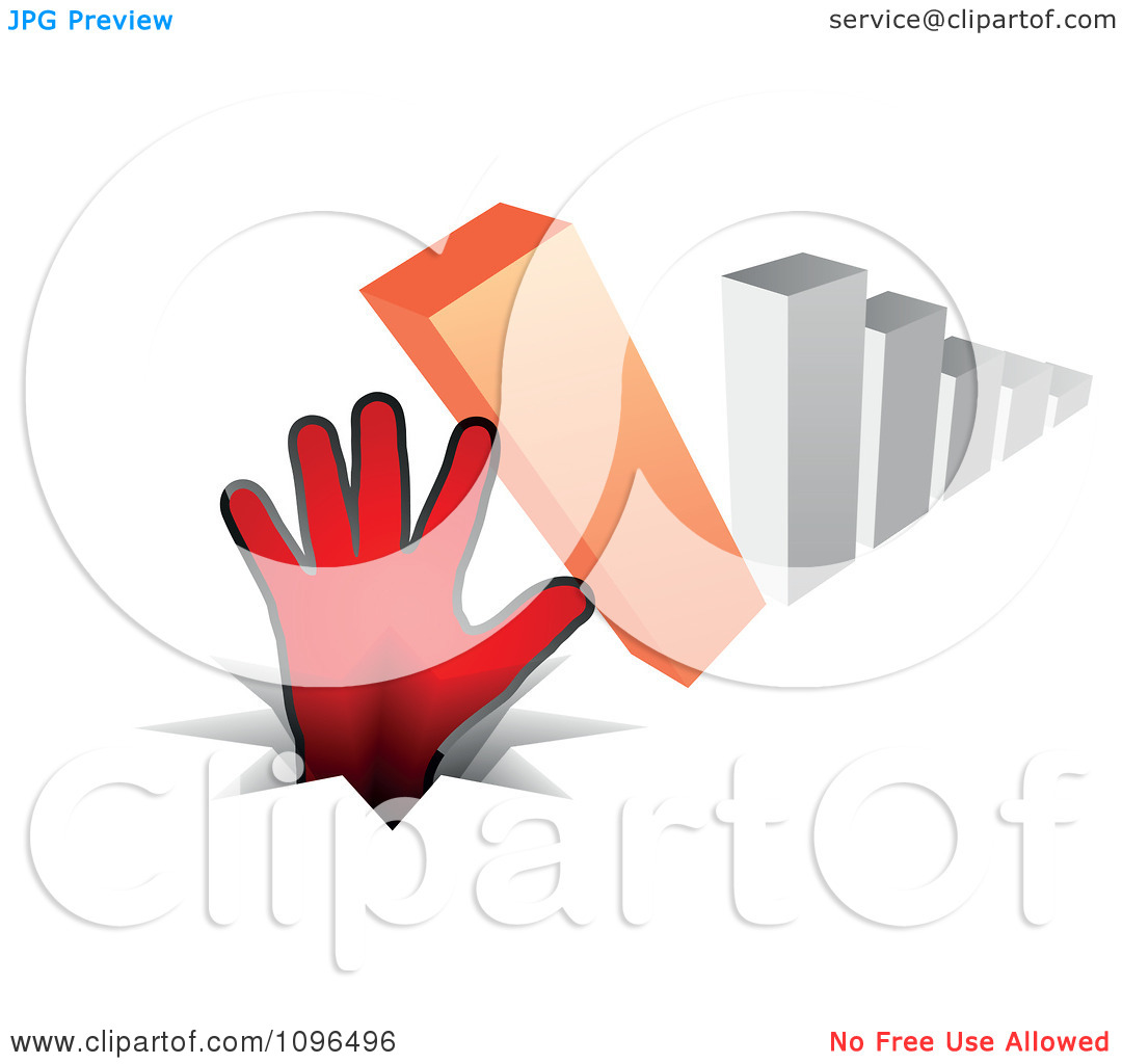 Clipart 3d Bar Graph Tipping Over Onto A Hand And Pounding It In.