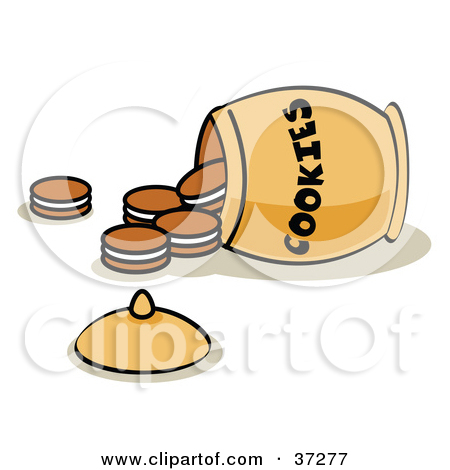 Clipart Illustration of a Tipped Over Jar With Cookies Spilling.