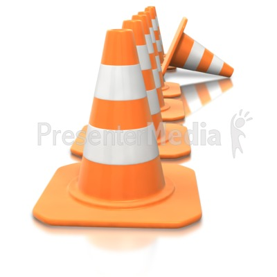 Construction Cone Line Tip Over.