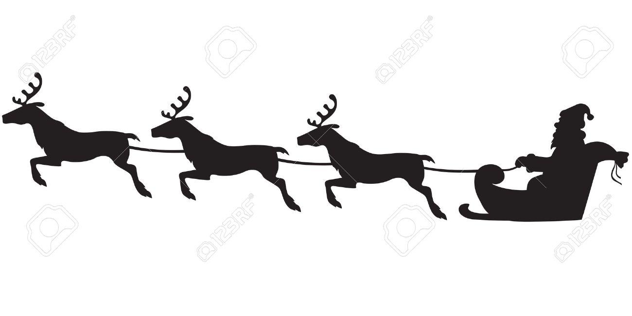 Silhouette Di Babbo Natale Seduto Su Una Slitta, Renne Che Tirano.