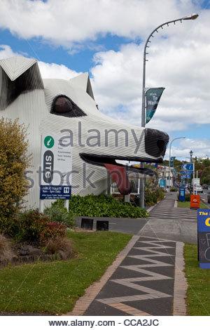 New Zealand Tirau Corrugated Iron Building In Shape Of Sheep Dog.