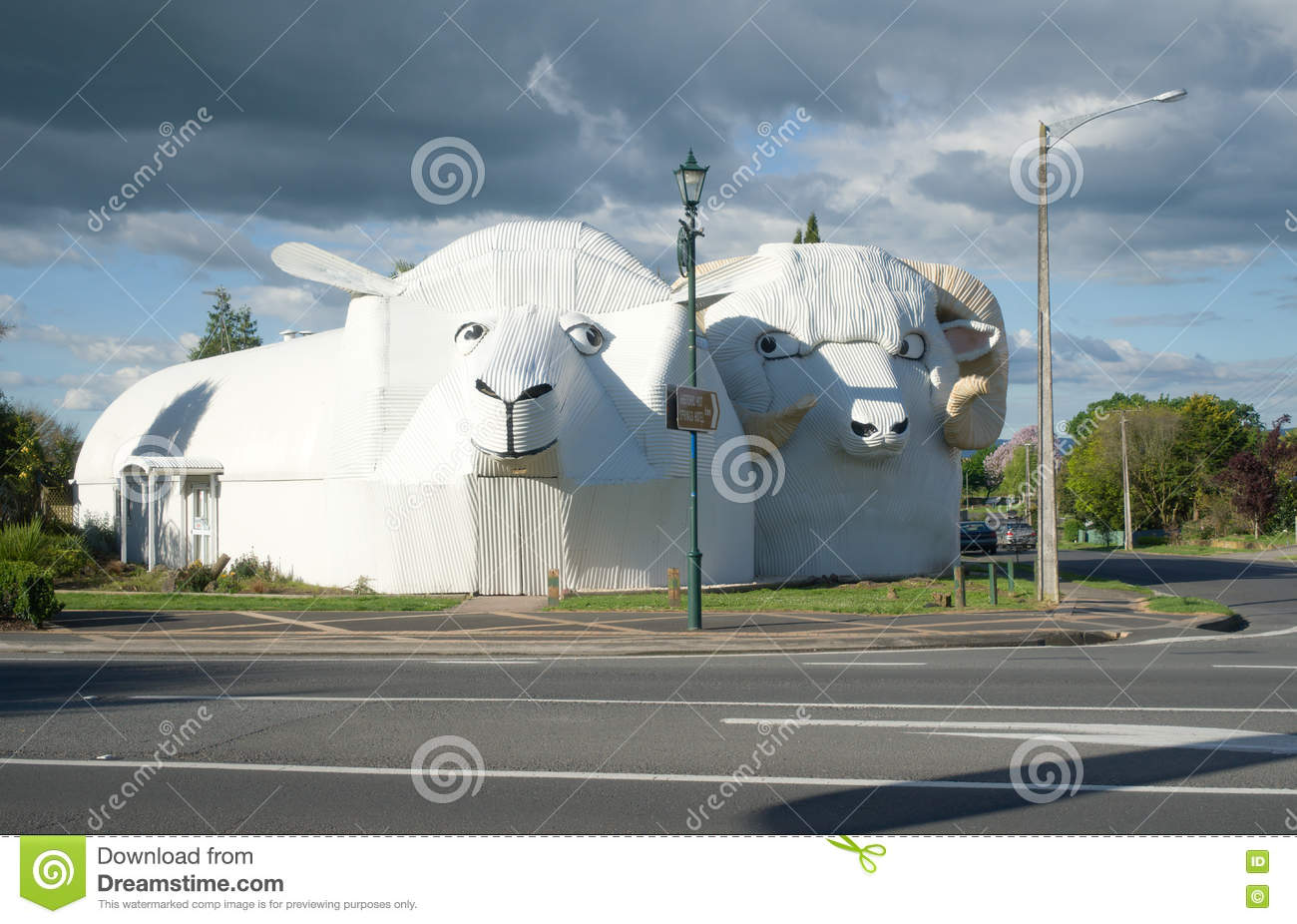 Huge Welcome Sheeps Building In Tirau, New Zealand Editorial Image.