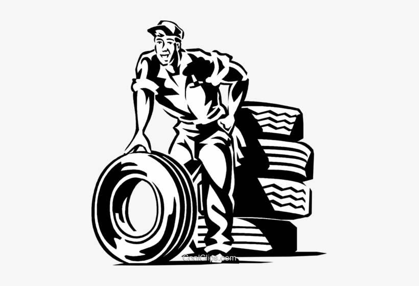 Auto Mechanic With Tires Royalty Free Vector Clip Art.