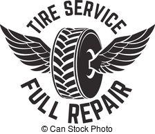 Vectors Illustration of tire service shop car show black symbol.