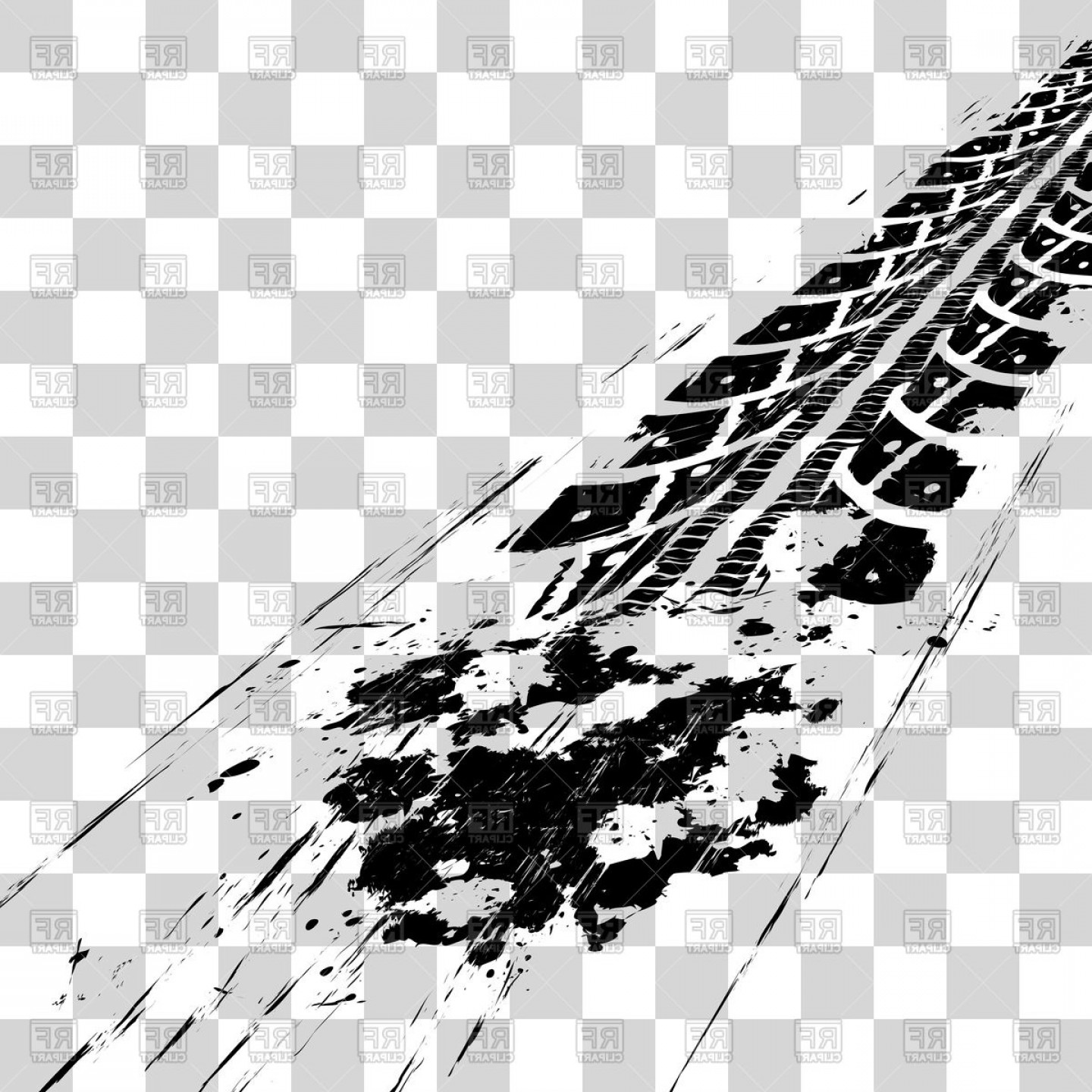 Tire Tracks On Checkered Background Vector Clipart.