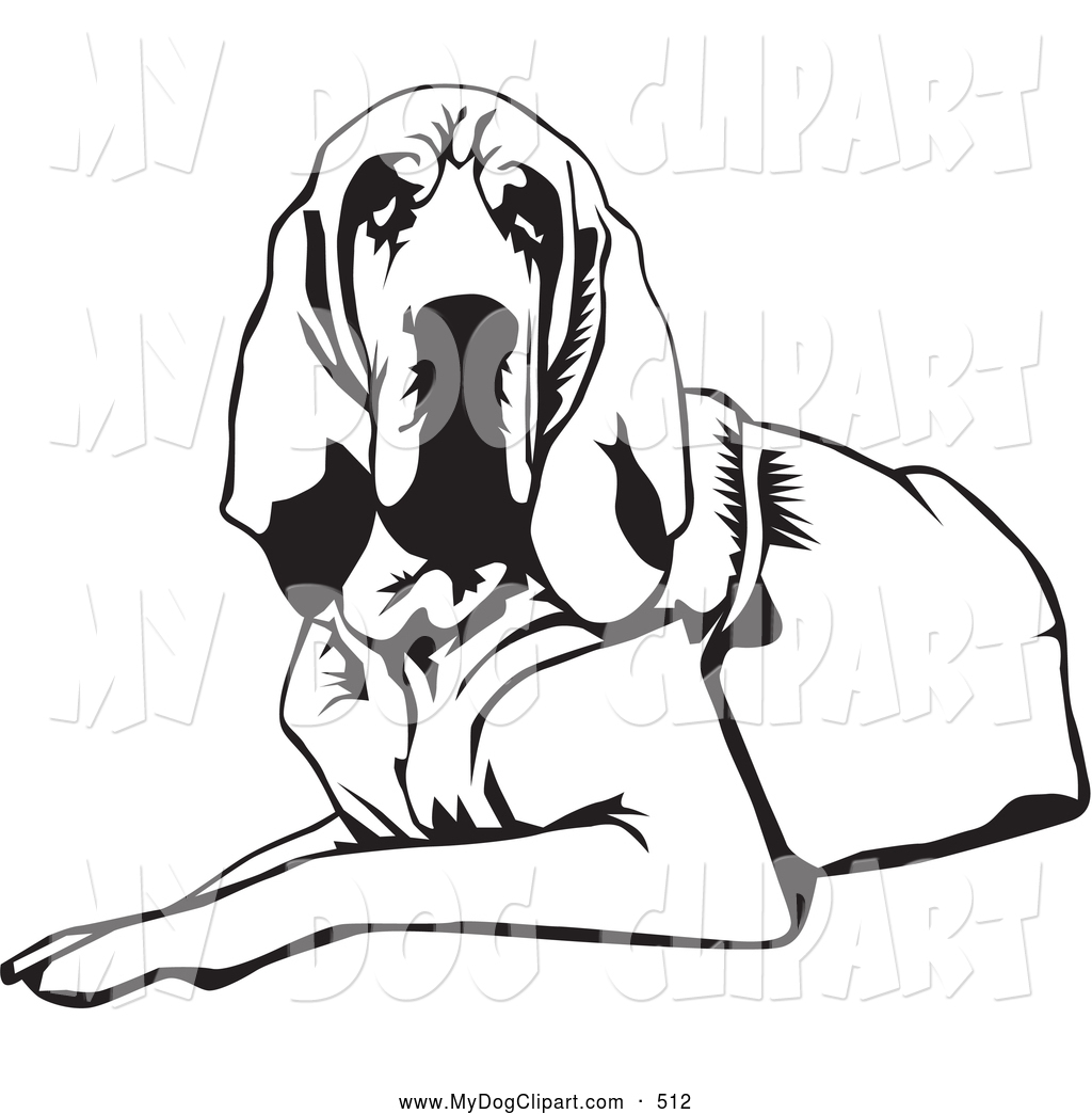 Clip Art of a Tired and Lazy Bloodhound Dog, or St. Hubert Hound.