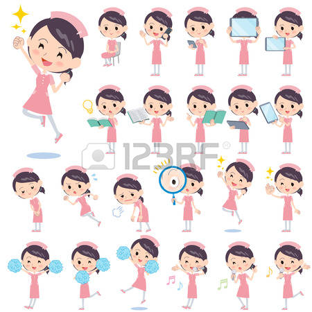 Tired Nurse: Set Of Various Poses Of Nurse 2.