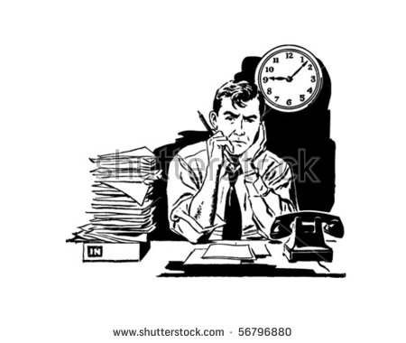 Tired Your Old Frustrated Office Worker Stock Vector 56796880.