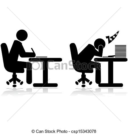 Vectors Illustration of Tired worker.