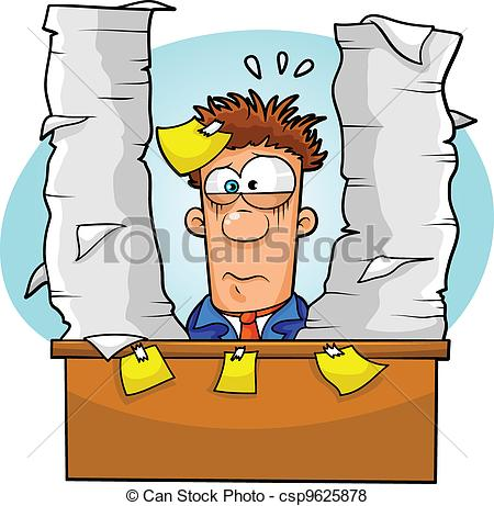 Vector of overwhelmed worker.