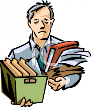 Cartoon of a Tired Man Carrying Office Files.