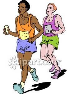Tired Men Running In a Marathon.