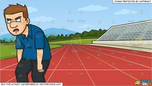 A Man Looking So Tired And Annoyed and Running Track Background.