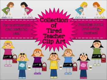 Tired Teacher Collection Clipart for Commercial and Personal Use.