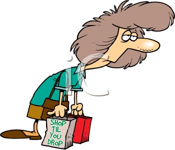 Cartoon of a Woman Tired From Shopping.