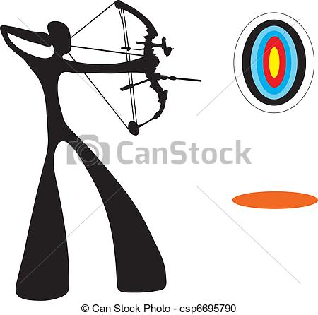 Vector Clipart of Shadow man playing archery game..