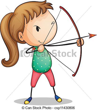 Vector Clipart of archer girl.