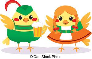 Clip Art Vector of Loving Bird Couple.