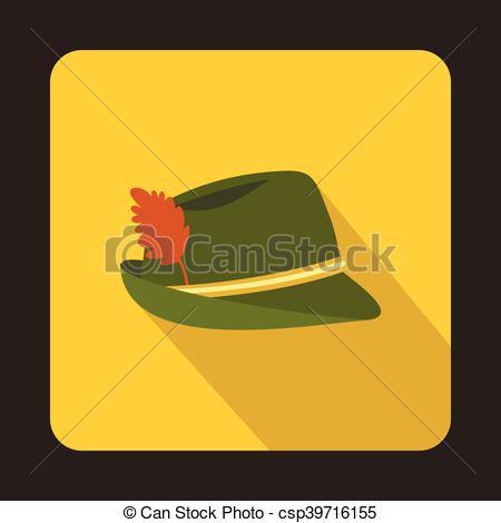 Clipart Vector of Oktoberfest tirol hat icon, flat style.