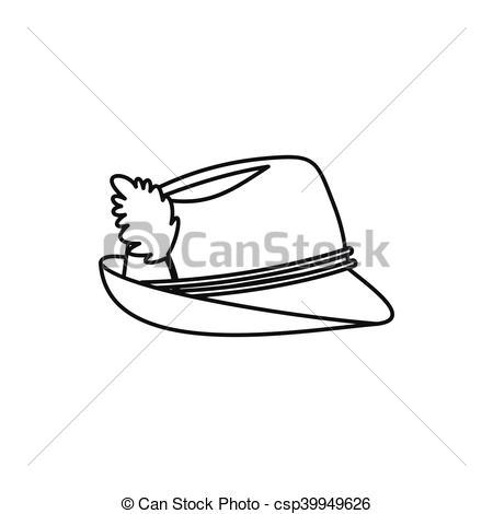 Vector Illustration of Oktoberfest tirol hat icon, outline style.